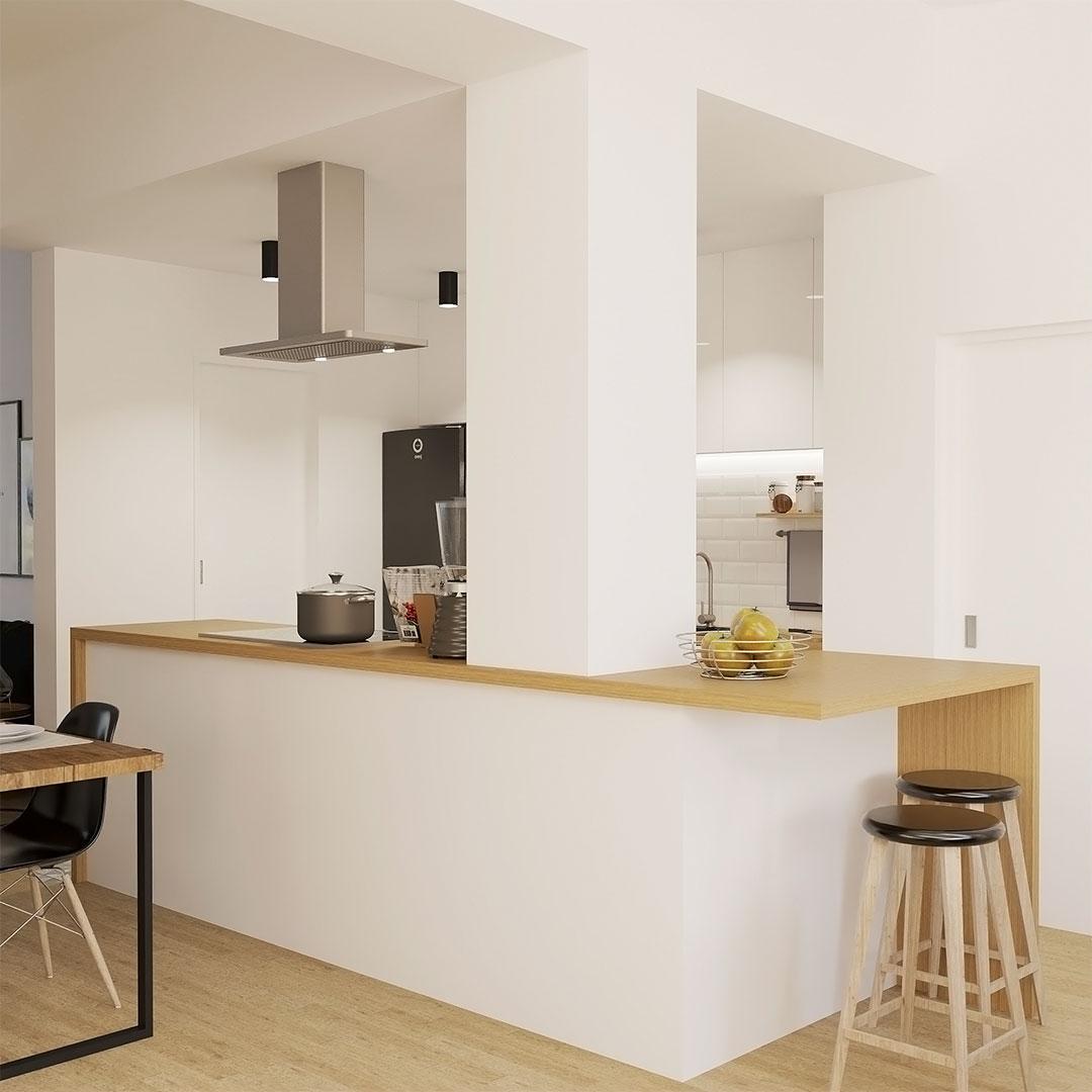 Cuisine ouverte avec la création d'une cuisine ouverte blanche et bois - maisonetvous