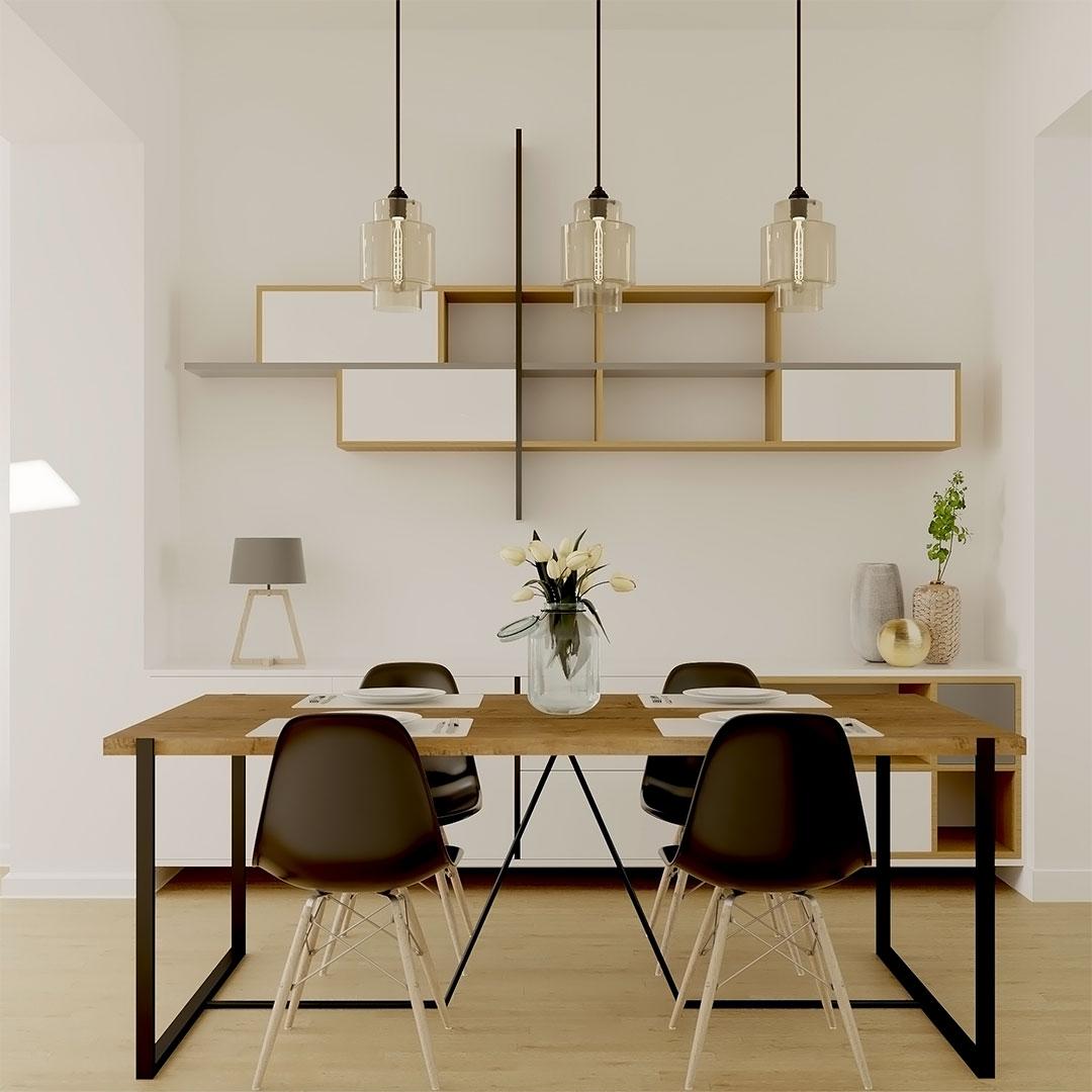 Ensemble-mobilier-de-salle-à-manger-en-bois,-noir-et-mobilier-mural-sur-mesure-en-tons-blanc,-bois,-noir---maisonetvour