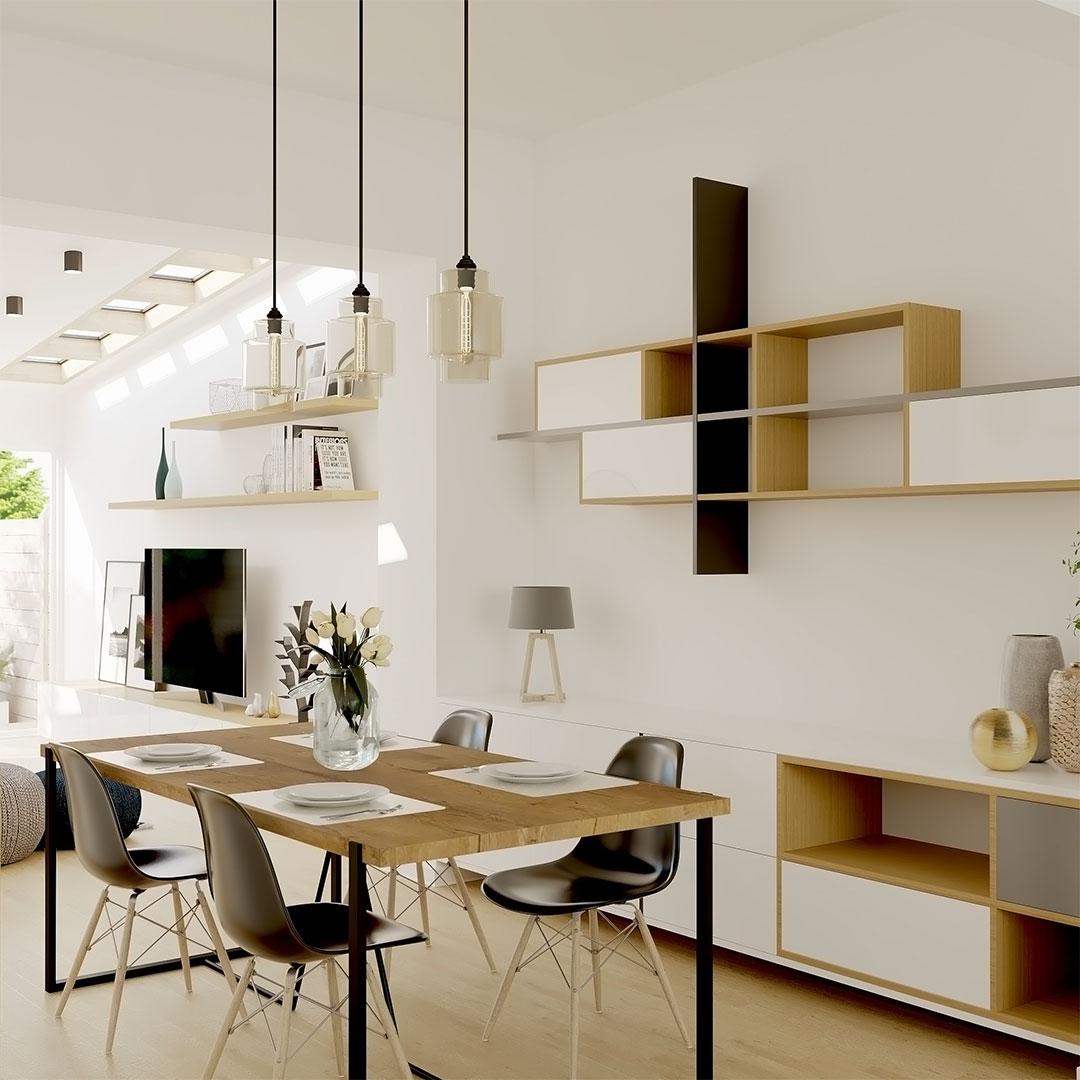 Extension-de-maison-avec-pui-de-lumière.-Sur-la-photo-la-salle-à-manger-avec-un-mobiliario-mural-sur-mesure---maisonetvous