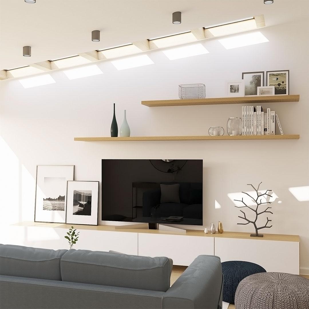 Extension de maison avec velux sur le toit, mobilier mural tv sur mesure - maisonetvour