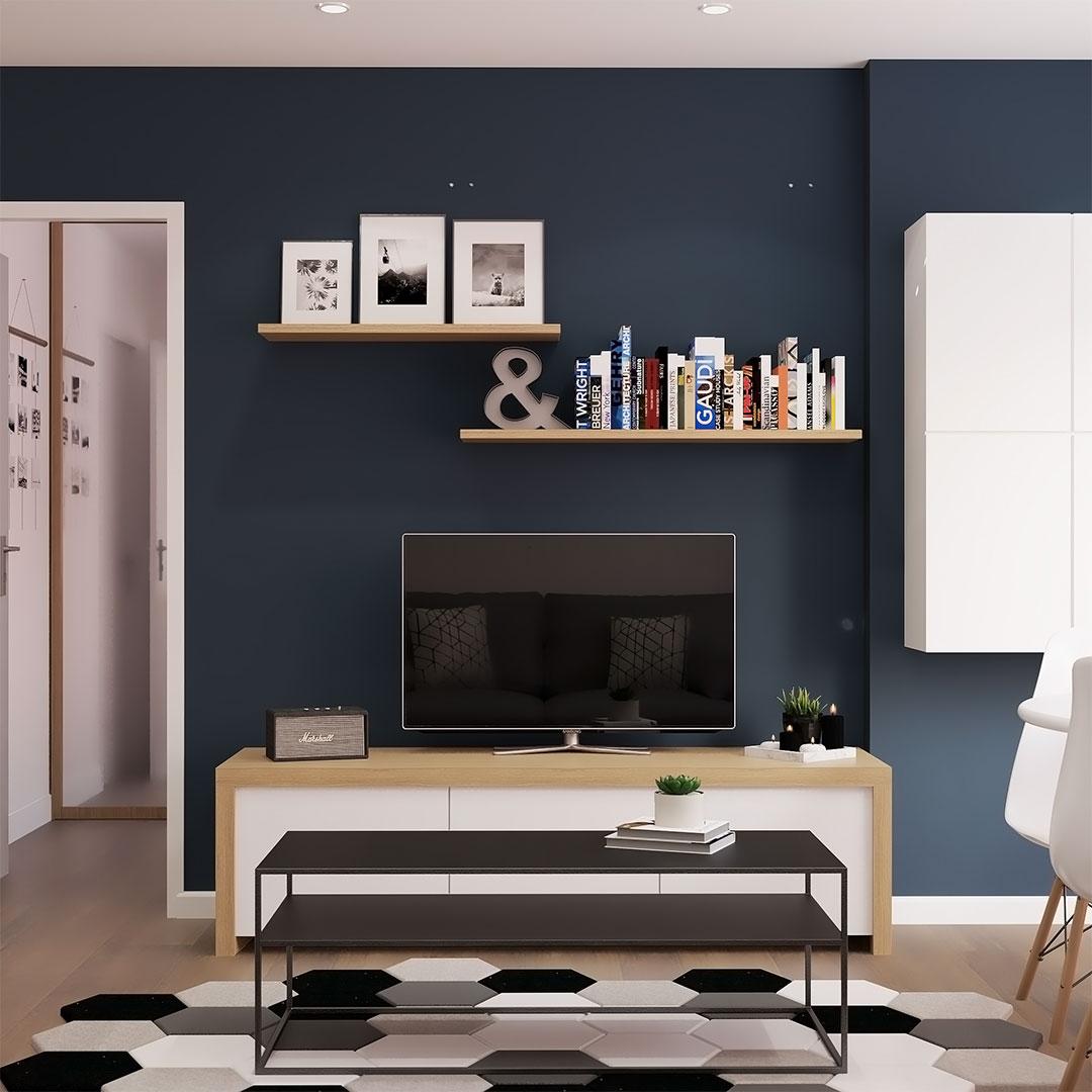 Rénovation-d'appartement-salon-bleu-avec--meuble-télé---Maison-&-Vous