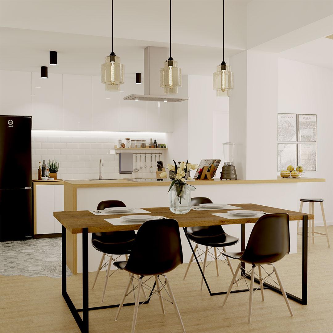 Rénovation de maison, cuisine ouverte sur mesure blanche et bois avec de meuble pour la salle à manger en noir et bois. - maisonetvous