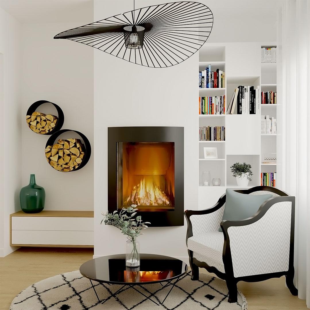 Rénovation-de-maison,-salon-en-blanc-et-noir-avec-cheminée-et-porte-bouche-mural---maisonetvous