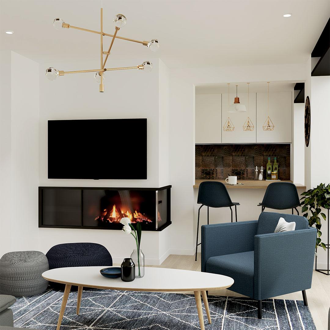 salon-cuisine-ouverte-cheminée-rénovation-salon-bleu-maisonetvous