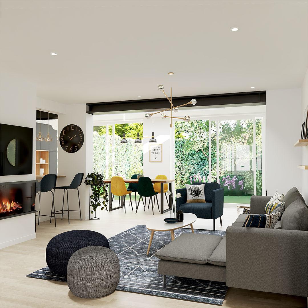 séjour-bleu-et-gris-ouverture-mur-porteur-agrandisement-salon-rénovation-maison-maisonetvous