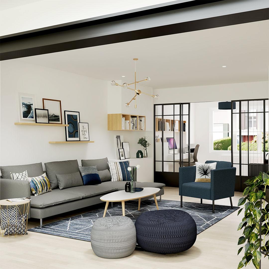séjour-bleu-et-gris-ouverture-mur-porteur-agrandisement-séjour-rénovation-maison-maisonetvous